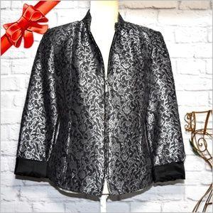 Jackets & Blazers - Chadwicks Zip Up Black/Silver Jacket #j8p06p01f-z1